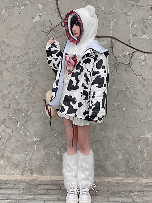 Cows Harajuku Style Plush Outerwear by Diamond Honey