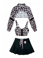 Underground Band Vocal Plaid Two-piece Top / Short Skirt by Diamond Honey