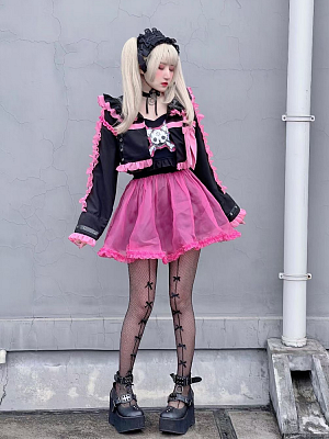 Harajuku Rock Bear Sexy Girls Peter Pan Collar Cropped Jacket by Diamond Honey