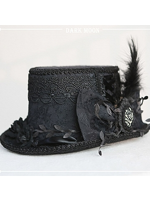 Moon Night Handmade Lolita Gothic Big Top Hat by Darkmoon