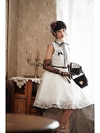 [DevilInspired Special] Elegant Vintage Embroidery Organza OP Classic Lolita Dress by Doris Night