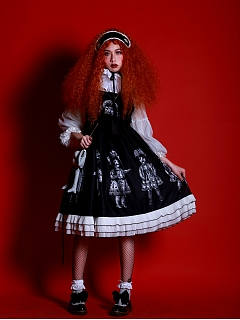 Paper Dolls Gothic Lolita Dress  with Three Layered Trims Lolita JSK by Dolls Party