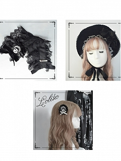 Paper Dolls Gothic Lolita Dress Matching Bonnet / Hairband / Brooch by Dolls Party