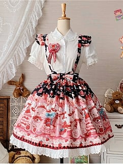 Strawberry Bear's Doll Sweet Lolita Overall Dress Skirt by Doll's Heart