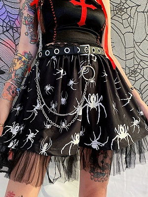 Y2K Punk Spider Print Lace Skirt by FANLOVE