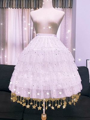 Gold Stars Trimming Lolita Adjustable Fishbone Petticoat by Flower Field Happy Event