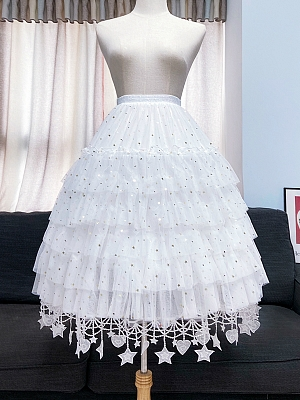 White Stars and Hearts Trimming Lolita Adjustable Fishbone Petticoat by Flower Field Happy Event