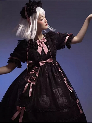Black Fairy Tale Series Sweet Lolita Natural Waist Overdress by Four Cats Lolita