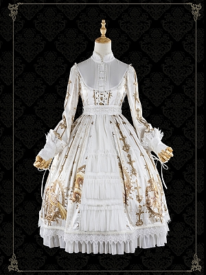 Gold Skeleton Elegant Gothic Lolita Dress OP by Foxs Feather