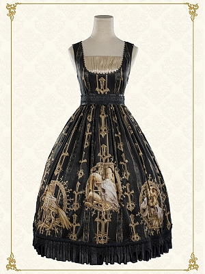 Gold Skeleton Elegant Gothic Lolita Square Neckline Dress JSK by Foxs Feather
