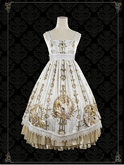 Gold Skeleton Elegant Gothic Lolita Empire Waist Dress JSK by Foxs Feather