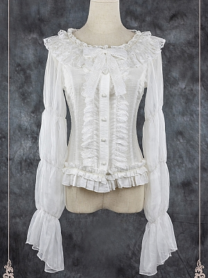 Tea Party Elegant Round Neckline Lolita Shirt by Foxs Feather