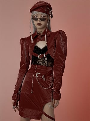 Red Long Puff Sleeves Metal Chian Cropped PU Leather Jacket by FROGLET