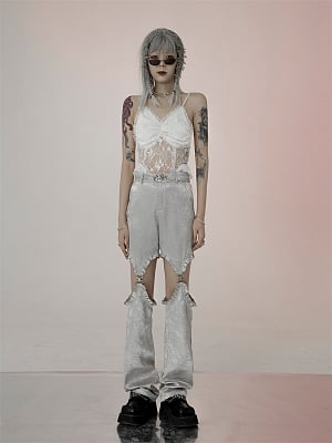 Y2K High Waist Hollow Out Detachable Jacquard Pants by FROGLET