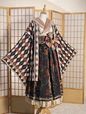 Maple Pine Elegant Lolita Grid Pattern Outerwear by Fantastic Wind