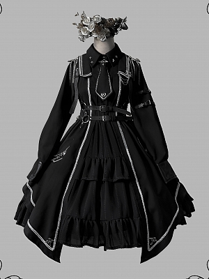 Junior Officer Military Style Long Sleeve Lolita Dress OP by Gloaming