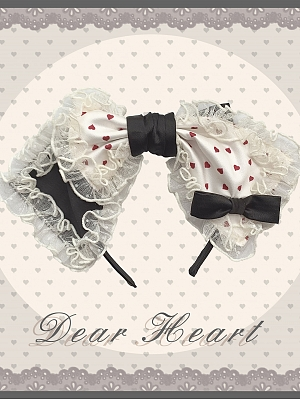 Dear Heart Sweet Lolita Dress Matching KC / Hairclip / Wristcuffs by Genqi Moon
