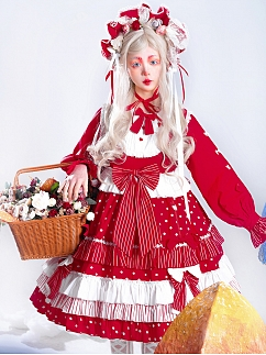 Sweet Strawberry Doll Lolita Dress OP Full Set by In Paradisum