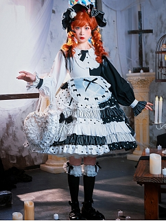 Cream Cocoa Doll Lolita Dress OP Full Set by In Paradisum