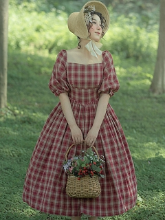 Lunch on The Grass Plaid Country Style Lolita Dress OP by LAERS