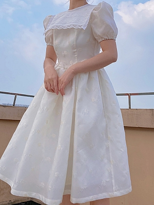 Short Puff Sleeves Vintage White Dress by Lady Capricorn