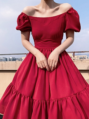 Short Puff Sleeve Vintage Red Dress by Lady Capricorn