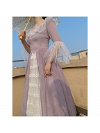 Purple Off-the-shoulder Vintage Elegant Dress by Lady Capricorn