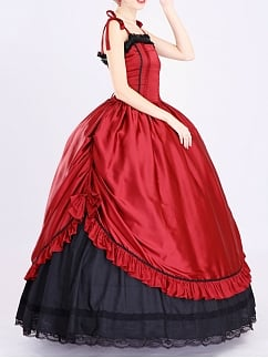Red Satin Straps Victorian Ball Gown by Lace Garden