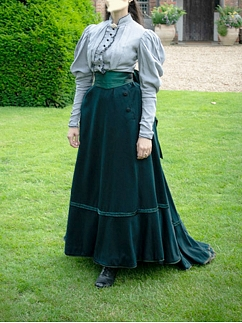 Elegant Edwardian Vintage Outfit Blouse / Skirt with Waist Sash by Lace Garden