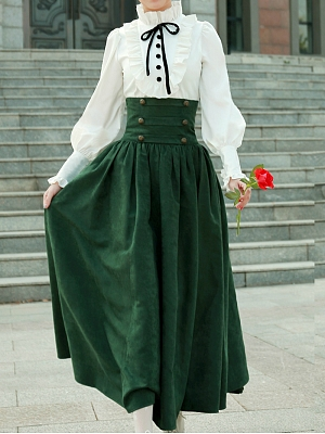 High Waist Lace Up Back Vintage Skirt by Lace Garden