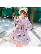 Panda Peter Pan Collar Lolita Dress OP by Lineall Cat