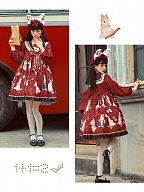 Bunny in Examining Wine Red Lolita Dress OP by Lineall Cat