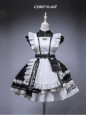 Cyber Maid II Housekeeper Lolita Dress Short OP Set by Lilith House