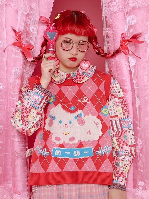 Decora Pink Plaid Sheep& Pocket Sided Sweater Vest by Lutra Jump