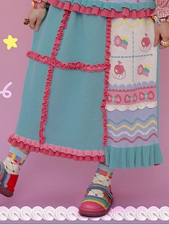 Decora Blue Pink Lacy Knit Skirt by Lutra Jump