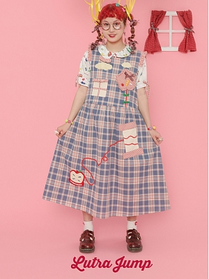 Blue Plaid Embroidery Pinafore Dress by Lutra Jump
