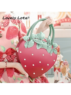 Small Strawberry Pearl Red Bow Lolita Bag  by Lovely Lota