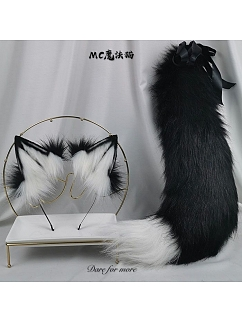 Handmade Black and White Wolf Ears Lolita KC / Tail by Magic Cat