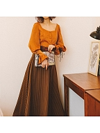 Autumn Warm Brown Strips Vintage Long Skirt by Miss Egg