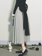 Grey Long Vintage Skirt with Black Bowknot Waistsash by Miss Egg