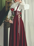 Wine Red Vintage Long Skirt with Side Lace-up and Shoulder Straps by Miss Egg