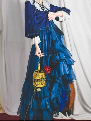 Deep Blue Layered Vintage Skirt by Miss Egg