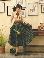 A Line Vintage Green Plaid Long Skirt  by Miss Egg