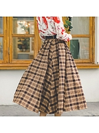 Autumn and Winter Brown Plaid Long Skirt  by Miss Egg