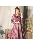 Mulberry Cake Vintage Plaid Ruffled Collar Long Sleeves Long Dress by Miss Egg