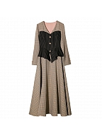 Champs Sunset Vintage Fake Two-pieces Plaid Long Sleeves Long Dress by Miss Egg