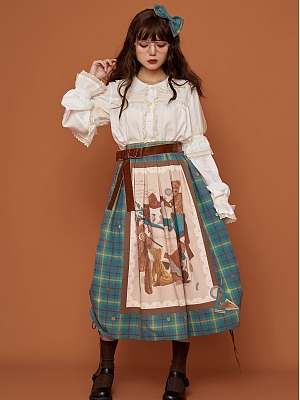 Teddy Save Itself Manual Plaid Lolita Skirt by Medee