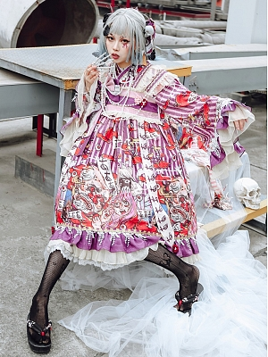Harajuku Style Paradise Monster Y2K Lolita Dress OP by Mushroom House Lolita
