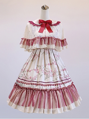 Chrysanthemum Country Style Lolita Dress JSK Cape Set by Milu Forest