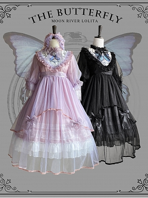 The Butterfly Stand Collar Middle Sleeve Lolita Dress OP by Moon River